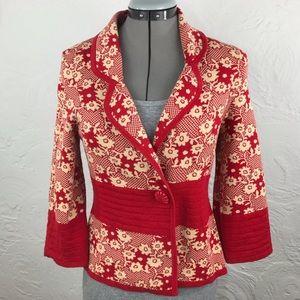 Anthropologie Moth red/cream floral sweater blazer